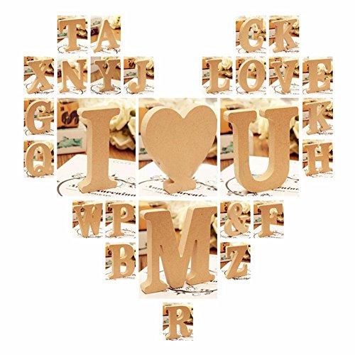 quanjucheer lettres de l'alphabet en bois, bois Craft Autonome lettres plaque Mariage Home Party Décor enfants jouet, Bois dense, bois, E