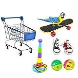 Papageienspielzeug 7PCS, Mini-Einkaufswagen - Trainingsringe -...
