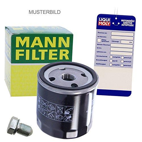 1x Ölwechsel Set - MANN ÖLFILTER + Ölablass-Schraube + LIQUI MOLY Ölwechsel-Anhänger
