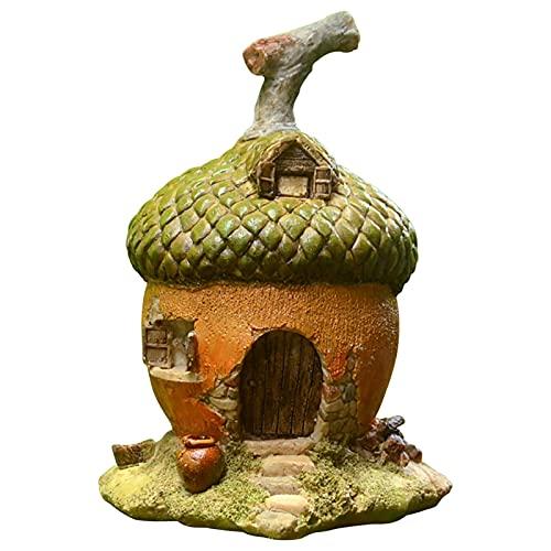 Fairy Garden Mushroom House Miniature Acorn House Statues,Waterproof Resin Elf House Ornament, Mystical Garden Mini House Decor for Yard Lawn Decorations and Gift
