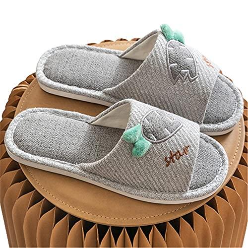 Zapatillas de lino de dormitorio mudas absorbentes de sudor de dibujos animados Zapatillas de casa transpirables antideslizantes para interiores y exteriores,gris claro,41-42