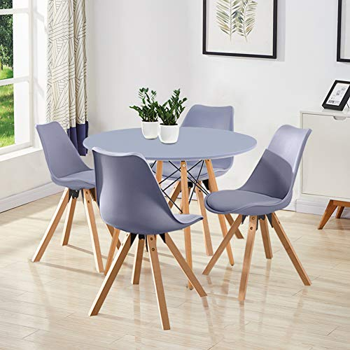 GOLDFAN Dining Table and Set 4 Leather Cushion Chairs Kitchen Table Modern Wood Round Dining Room Set, 80cm, All Grey