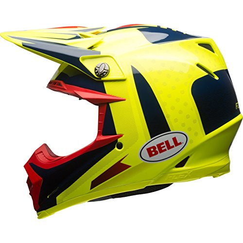 BELL Helmet Moto-9 Flex Vice Blue/Yellow, Größe S