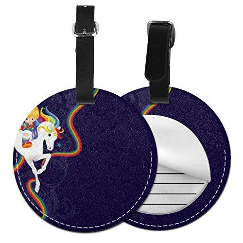 Rainbow Brite y Starlite Memories personalizado de cuero de lujo maleta etiqueta conjunto de accesorios de viaje redondo etiquetas de equipaje