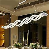 Lámpara de araña LED para mesa de comedor, cocina, cuarto de baño, lámpara colgante de color blanco con forma de ondas, lámpara de techo de metal acrílico, diseño moderno y chic, lámpara de comedor