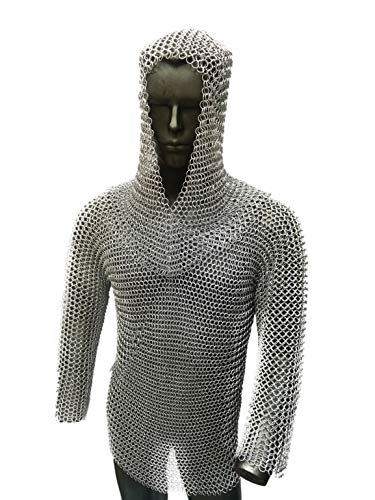 Roman Troops Zink Finish Butted 10 MM Mild Steel Chainmail Half Sleeve Hauberk Shirt Medieval Armory for Reenactment &LARP (M)