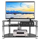 TAVR Black Tempered Glass Corner TV Stand Cable Management Suit for up to 50 inch LCD, LED OLED or Curved Screen TVs,Chrome Legs