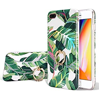 EYZUTAK Tropical Leaf Floral Pattern Case for iPhone 6 Plus iPhone 6S Plus Ultra Slim TPU Case with Ring Holder Stand Shock Absorption Basic Protector Cover - Green
