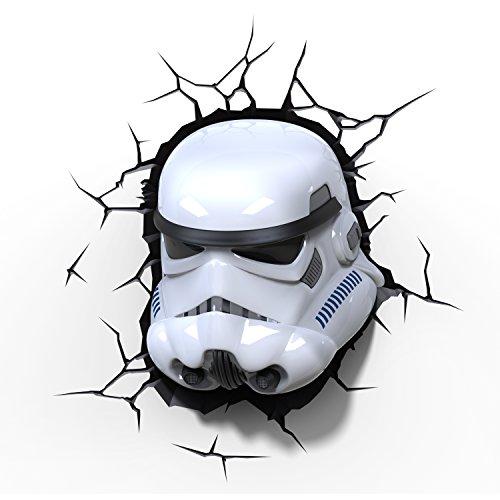 Veilleuse enfant 3D Light FX Star Wars –Casque Stormtrooper– Lampe murale led avec minuteur et sticker muraux