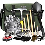INCLY 15 PCS Geology Rock Pick Hammer Kit, 3 PCS Digging Chisels Set for Rock Hounding, Gold Mining & Prospecting Equipment Tool with Shovel Musette Bag, Compass, Whistle, Wooden Chisel