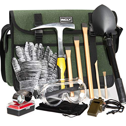INCLY 15 PCS Geology Rock Pick Hammer Kit 3 PCS Digging Chisels for Rock Hounding Gold Mining amp Prospecting Equipment with Shovel Musette Bag Compass Whistle Wooden Chisel
