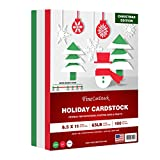 Holiday Christmas Colored Card Stock Paper, Red, Green & White 8.5 x 11' Cardstock for Greetings, Gift Tags,...