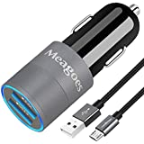 Meagoes Fast Car Charger, Compatible for Samsung Galaxy S7 Edge/ S7/S7 Active/S6 Edge/S6/S5/S4, Note 5/4, with Rapid Micro USB Charge Cable, Quick Charge 3.0 and 3A Charging Port Car Adapter