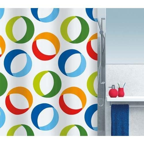 Spirella 10.15185 DV Textile Curtain with Rings Motif 180 x 200 cm Multi-Coloured by Spirella