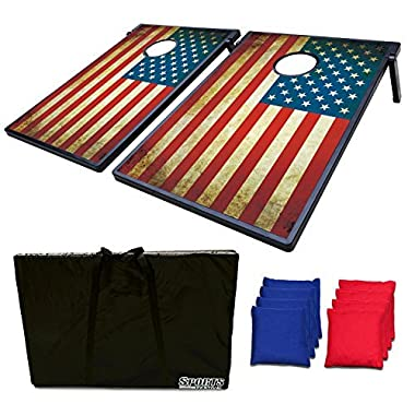 SF17036 Sports Festival Cornhole Board Bean Bag Toss Game Set and Tic Tac Toe 2 Games in 1