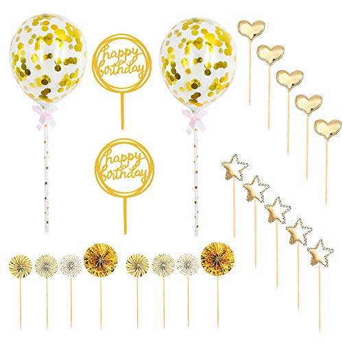 Migimi 2 Sets Happy Birthday Cake Topper Set, Gold Confetti Balloons Stars and Paper Fans for Birthday Cake Decoration and Gold Theme Party Decoration Girl Boy Kid Women Man(22pcs )(Gold)