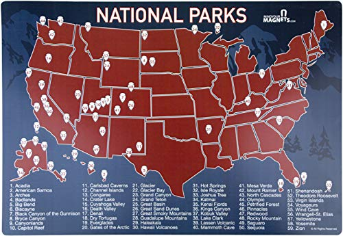 US National Parks Map Fridge Magnet - Travel Map of the United States - Magnetic Dry Erase Board (7' x 10') - The Perfect Way to Track Your Travels to the US National Parks!
