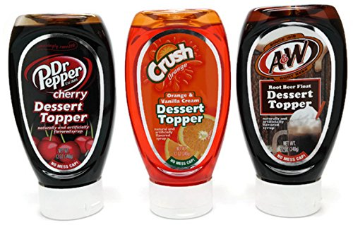 Dr Pepper Cherry, Orange Crush, A&W Root Beer Float Dessert Topper Syrup, 12-Ounce (Variety Pack of 3)