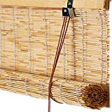 kufu01 Sombreado/Privacidad/Partición/Persianas Enrollables de Bambú,Cortina de Caña Natural,Rollo Bambú Ventanas Transpirable,Cortinas Opacas para Restaurante Casa de Té Balcón (120x150cm/47x59in)