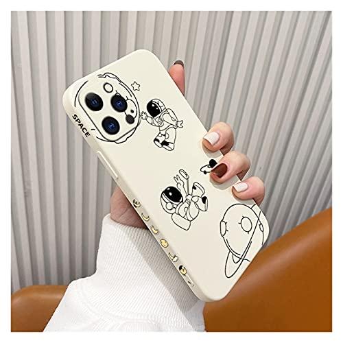 Estuche de teléfono de Astronauta de Dibujos Animados Suave para iPhone 12 Pro MAX 11 X XS XR XSMAX SE2020 8 8 Más 7 7plus 6 6s más 5 5s Cobertura (Color : White1, Material : For iPhone 12promax)