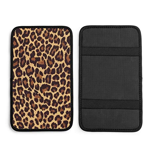 FUNINDIY Leopard Print Auto Center Console Pad, Universal Car Armrest Seat Box Cover Protector Waterproof Car Armrest Cover for Most Vehicle, SUV, Truck