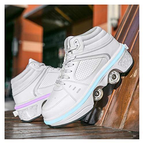 HANHJ Zapatos con Ruedas Niños LED 2 En 1 Patines con Ruedas Quad Roller Zapatos Deportivos Zapatos para Correr Zapatillas 7 Ruedas Que Cambian De Color Gimnasia Zapatillas,White-37