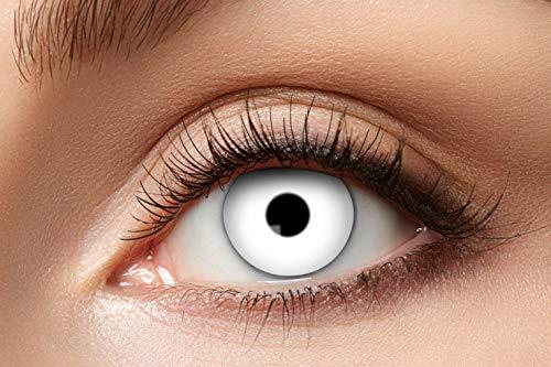 Eyecatcher - Farbige Kontaktlinsen, Farblinsen, Jahreslinsen, 2 Stück, Halloween, Karneval, Fasching, Vampir, weiß, white
