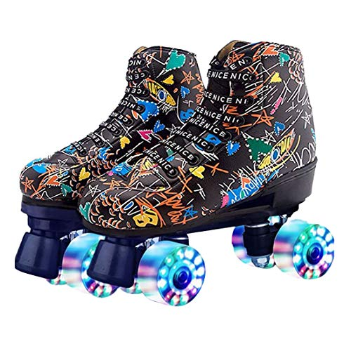 Roller Skates Classic High-top for Adult Outdoor Skating Light-Up Four-Wheel Roller Skates Shiny...