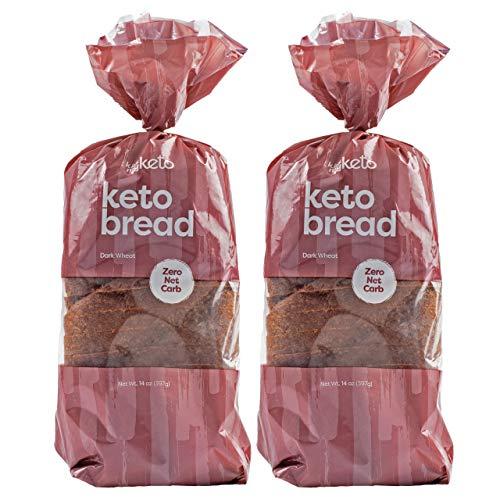 Kiss My Keto Bread Dark Wheat — Zero Carb Bread (0g Net), 6g Protein / Slice | Sugar Free, Low Carb Bread | Low Calorie, No GMOs, Soy Free & 100% Carb Free (2 Packs)