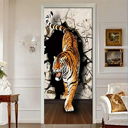 JJDSL Etiqueta de Puerta Vinilos para Puerta Pared Adhesivos Papel de Pared - Animal, tigre, pared, tablón - 90x200 cm - para Cocina Baños Dormitorio Infantiles - 3D Autoadhesiva Impermeable D