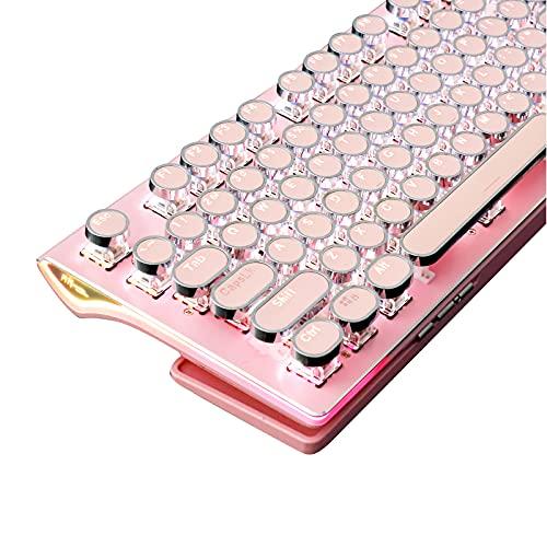 TISHLED Pink Typewriter Style Mechanical Gaming Keyboard with White LED Backlit, Ergonomic Foldable Wrist Rest, 108-Key Blue Switch Kawaii Retro Round Keycaps Light Up Wired USB for PC, Mac, Laptop
