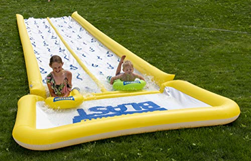 BACKYARD BLAST - 50' Waterslide with Bumpers and Pool, 2 Inflatable Riders and Hand Pump - Easy to Setup - Extra Thick to Prevent Rips & Tears