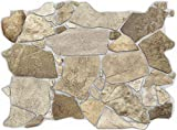 Concord Wallcoverings 3D Wall Panel Crude Stone Pattern Design, Colors Brown Beige Grey, Raised Texture, Waterproof and Fire-Resistant PVC, Size 23.5 Inches Wide 17.5 Inches High 563WB (10)