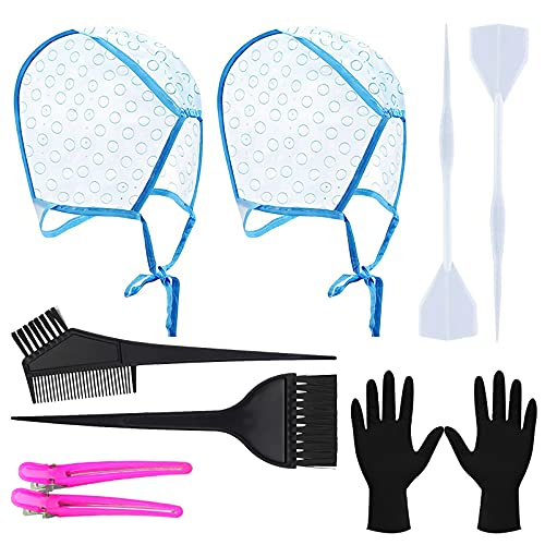 Hair Highlighting Kit,Highlighting Cap,2 PCS Hair Disposable Frosting Cap set for Salon Home Use with 2 Plastic Hook,2 Hair Dye Comb Hair Dye Brushes,2 Hair Clips, 2 Latex Gloves Set for Dyeing Hair