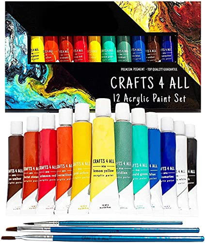 Crafts 4 All Acrylic Paint Set - 12 Craft Paints for Paper, Canvas, Wood, Ceramic & Fabric – Vibrant Pigmented Colour for Artists & Beginners - Non-Toxic