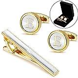 LOLIAS Mens Cufflinks Tie Bar Clip Set Alphabet Letter Cufflinks Formal Business Wedding Shirts Gift Box,E