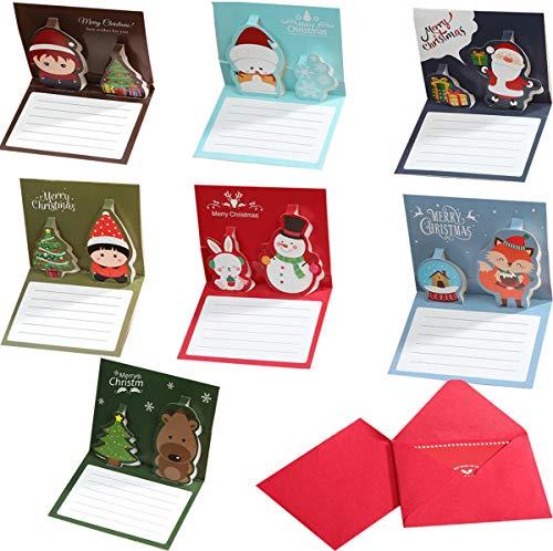 Liuer 24PCS Tarjetas de Navidad 3D Tarjetas feliz Tarjetas de felicitacion de aniversario cumpleanos feliz amante...