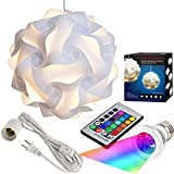Puzzle Lights Kit, Modern Jigsaw Puzzles Lamp with 12 Feet Cord and Remote Control 16 Color Changing LED Light Bulb Kit, M Size, White