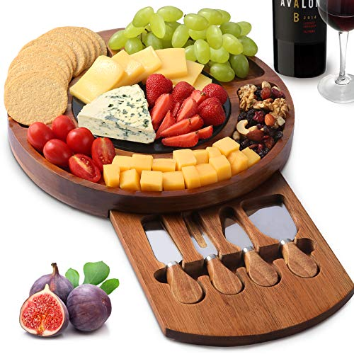 CTFT Cheese Board Set, Charcuterie Boards Acacia Round Platter Serving Tray Charcuttery Meat Platter With Knife Set And Marble Plate, Gifts For Mother's Day Housewarming Christmas Wedding Anniversary