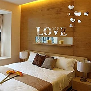 Alrens(TM)Silver 11pcs Love Letter Hearts Patterns Mirror Wall Sticker DIY 3D Acrylic Mirror Wall Decal Art Creative Design Wedding Room Living Room TV Background Decor Home Decoration