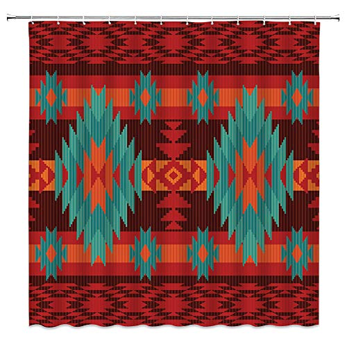 Indianerischer Duschvorhang, bunter südwestlicher Navajo, abstrakter Azteken-Western-Retro-Stil, geometrischer Boho-Stoff, Badezimmer-Dekor-Set mit 12 Haken, 180 x 180 cm, blau dunkelrot