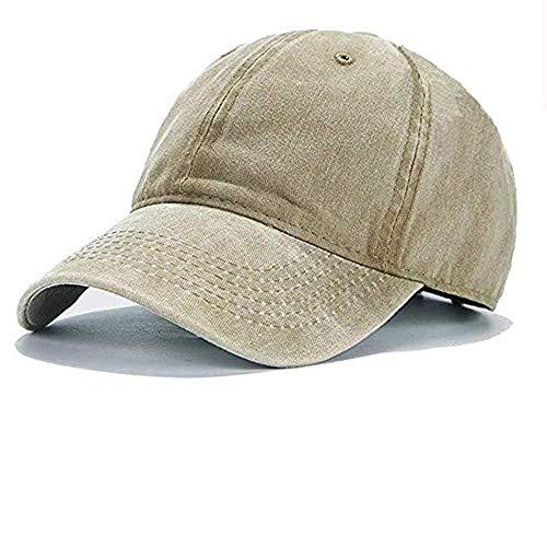 Aedvoouer Men Women Baseball Cap Vintage Washed Distressed Hats Twill Plain Adjustable Dad-Hat (G-Khaki)