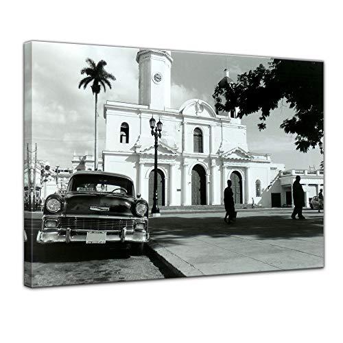 Bilderdepot24 Bild auf Leinwand | Oldtimer - Kuba I in 40x30 cm als Wandbild | Wand-deko Dekoration Wohnung modern Bilder | 202489B