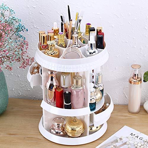 Storage Box Boîte de Rangement de Maquillage Rotative a 360 Degrés, Étui a Cosmétiques Acrylique Transparent Plateau de Bijoux, Présentoir Cosmétique Réglable avec Tiroirs