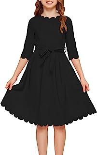 لباس کمربند کمربند آستین دار 3/4 آستین دخترانه GORLYA با جیب برای بچه های 4-14T