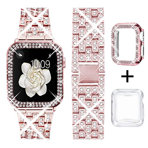 DSYTOM Compatible Apple Watch Band 38mm with Case Women,Rhinestone Metal Jewelry Wristband Strap with Bling PC Protective Case Replacement for iWatch Series 3 2 1