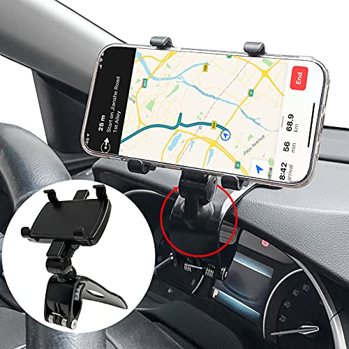 【2021 AiHiwvol 三代目 クリップ式 車載ホルダー】上げ下げ可能 スマホホルダー 車 角度調節可能 360度回転 スマホ車載ホルダー ダッシュボード サンバイザー バックミラー デスクにも適用 着脱簡単 スマホスタンド for iPhone Samsung Sony Huawei LG 3-7インチ全機種対応