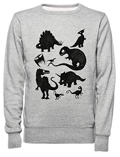 Rundi Silhouetted Dinosaurier Herren Damen Unisex Sweatshirt Jumper Grau Größe XXL - Women's Men's Unisex Sweatshirt Jumper Grey