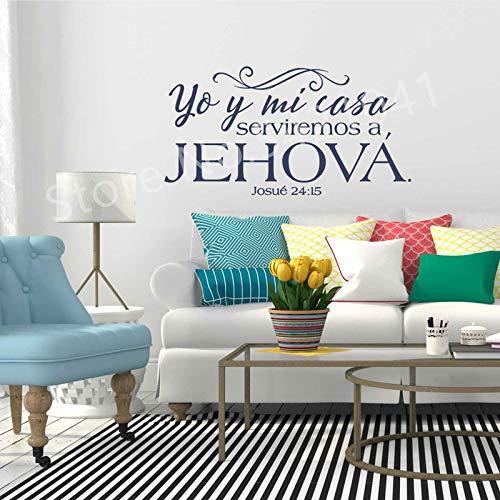 JXMN Bibelstellen geschrieben in spanischen Vinyl Wandaufkleber spanische christliche Familie Wandaufkleber dekorative Tapete 120x63cm