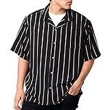 [ドムアオム] オープンカラーシャツ メンズ 父の日 ギフト おおきいサイズ カジュアルシャツ カジュアル 半袖 シャツ ゆったり おしゃれ ストライプ 開襟シャツ チャコール LL